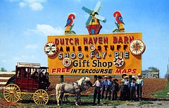 Dutch Haven Barn Stripping Room Gift Shop Intercourse PA (Edge and corner wear) Tags: vintage postcard pc pa pennsylvania dutch people horse carriage buggy roadside windmill figures souvenirs gift shop curios route 30 lincoln highway hex signs