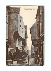 York - The Shambles (pepandtim) Tags: postcard old early nostalgia nostalgic york shambles valentine man washed wet best preserved medieval street domesday book saxon fleshammels butchers market margaret clitherow arrested 1586 harbour catholic priests condemned death pressing crushing heavy weight 25031586 compressive asphyxia sanitary hygiene laws guts offal blood runnel scene disorganisation 22yts27