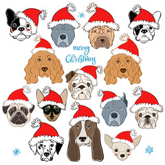 Vector set of  dog's face in Santa's hat.  Dog - animal symbol of new year 2018. Hand-drawn isolated  elements on a white background. Ten different dog breeds. (everythingisfivedollar) Tags: frenchbulldog englishbulldog sharpei pug bassethound chihuahua dalmatian spaniel pitbull miniaturepinscher santaclaus hat holiday dog face drawing animal black white wrinkles doggy illustration funny puppy isolated pup bestfriend cute greetingcard humorous sketch canine purebred handdrawn vector set element object red outline contour asian celebrate tradition zodiac cartoon art decoration chinese card symbol calendar 2018 newyear santa mustache different