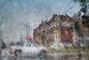 Downpour on Washington St. (Explored 11-19-17) (David DeCamp) Tags: background abstract concrete texture urban stoplight rain downpour
