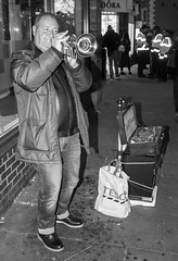 Durham Lumiere, 2017. (CWhatPhotos) Tags: exhibits exhibit street artist trumpet player play trumpeter playing black white mono man male perform performer cwhatphotos durham city north east england uk lumiere light show 2017 durhamlumiere lit up day time illumination olympus em5 ii lens pictures picture photographs photograph pic pics foto fotos image images with that have which contain art artistic view