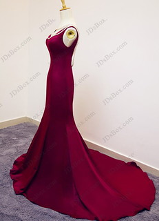 PD16030 Elegant red burgundy colored backless mermaid prom dress