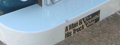 BUMPER STICKER on a CHEVY 3100 TRUCK. (goldiesguy) Tags: goldiesguy gm bumperstickers carshow chevy chevrolet 3100 old outdoors signs vehicle vehicles