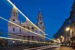Light Flash At Pauls (JH Images.co.uk) Tags: london stpauls cathedral night light trail bus church art architecture twilight hdr dri movement bluehour