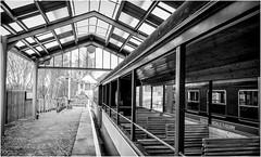 Alston . (wayman2011) Tags: lightroomfujifilmxpro1fujifilmxf18mmf2 wayman2011 bw mono rural stations railways platforms pennines dales tynedale alston cumbria uk