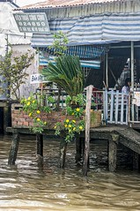 Hanging Gardens Of Cai Be (gecko47) Tags: vietnam caibe mekong rivermekong delta river house architecture waterfront flowers palm citrus dock ramp water lifestyle awnings