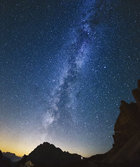A hundred billion things (Robyn Hooz) Tags: milkyway billion trillion stars mountains dolomites peaks rocks vialattea notturno night beauty bellezza sky cielo trecime dreizinnen