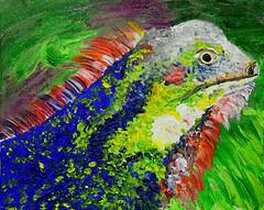 I Got Those Iguana Blues.  And Greens . . . ! (BKHagar *Kim*) Tags: bkhagar art artwork artday painting paint acrylic iguana animal bright reptile