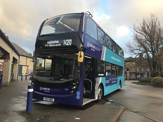 Arriva Northumbria sapphire E400MMC 7545 seen here in Alnwick Bus Station whilst unusually operating on the X20 in place of a Great North Rod Branded Daf ALX400 that was supposed to be on this run
