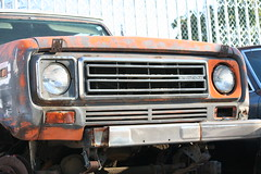 Clunkers in Greenwood (vetaturfumare - thanks for 3 MILLION views!!!) Tags: rust decay rot parked old junk skrot skrotbil international internationalharvester ih scout scoutii orange speckled rusty wreck tired grille headlights lyktor