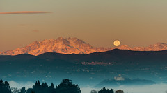 Sunrise and Moonset 2 (andreasbrink) Tags: italy monterosa mountains taino moon sunrise