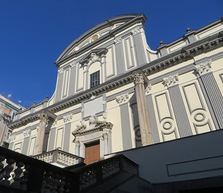 Façade baroque  de la basilique San  Paolo Maggiore (XVIIe), via dei Tribunali, Naples, Campanie, Italie.