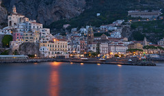 As the Sun goes down (AgarwalArun) Tags: sony a7m2 sonyilce7m2 landscape scenic nature views amalfi amalficoast italy europe costieraamalfitana unescoworldheritage bayofnaples salerno reflections nightscene acitybythenight