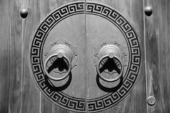Door Handles (superzookeeper) Tags: canoneos5dmarkiv ef2470mmf28liiusm 5dmk4 5dmkiv hk hongkong taio eos digital street oldhouse oldbuilding tungyicklane door olddoor doorhandle doorknob blackandwhite bnw monochrome