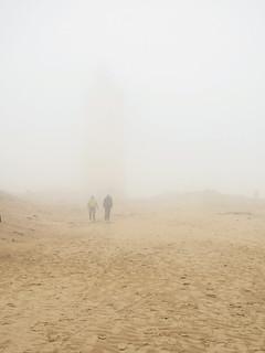 Rubjerg Knude Lighthouse in sea fog