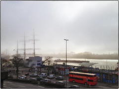 Fog Over Hamburg (/RealityScanner/) Tags: apple iphone4s deutschland hamburg elbe fluss wasser landungsbrücken stadtrundfahrt doppeldecker schiffe himmel wolken nebel gegenlicht autos verkehr stpauli strase