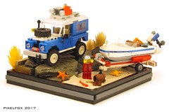 Land Rover Series 3 (Pixel Fox) Tags: land rover series 3 boat diorama lego 4x4 offroad
