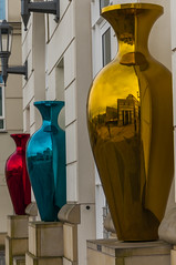 Cite Judiciaire reflected in vase sculptures - Luxembourg