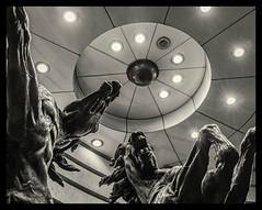 Horses of Helios Sculpture (Picadilly Circus - Haymarket) (Central London) (BW) (Fujifilm X100F) (markdbaynham) Tags: london londonist central centrallondon londoner westminster capital city urban metropolis street fuji fujiuk fujix transx fujifilm x100f prime 23mm f2 fujinon fixedlens haymarket bw monochrome blackwhite sculpture horsesofhelios