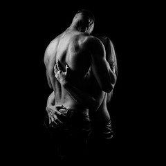 Young couple hugging (n_lev44) Tags: ifttt 500px portrait girl beauty strong beautiful woman adult man body love romantic couple monochrome black sport healthy sexy young dress male topless hug jeans handsome attractive bodybuilder shirtless fitness muscular athletic