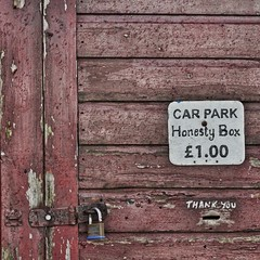 Honesty Box (No Great Hurry) Tags: £1 £ signage sign padlock padlocked lock reddish red moneyslot slot words thankyou weathered paint oldpaint flakingpaint flaking decaying decayed decay square abstract onepound pound eastridingofyorkshire yorkshire robinmauricebarr nogreathurry carpark beach fraisthorpe wood shed wooden bsquare bsquarecompetition abstrait