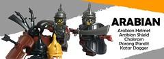 New Arabian Accessories (BrickWarriors - Ryan) Tags: brickwarriors lego arabian parang pandat shield sword katar chakram custom weapons armor helmet