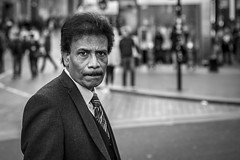 Business (Leanne Boulton) Tags: portrait people urban street candid portraiture streetphotography candidstreetphotography candidportrait streetportrait eyecontact candideyecontact streetlife man male face facial expression eyes look emotion feeling mood atmosphere moustache businessman suit tie tone texture detail depthoffield bokeh naturallight outdoor light shade shadow city scene human life living humanity society culture canon canon5d 5dmkiii 70mm character ef2470mmf28liiusm black white blackwhite bw mono blackandwhite monochrome glasgow scotland uk