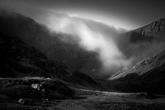 Cloud Cascade (Alan Hughes Mach) Tags: cymru eryri snowdonia snowdonianationalpark wales gwynedd cwmcau craigcau mountain cwm mountainside mist fog cloudinversion inversion temperatureinversion landscape landschaft paysage ridge skyline light sky walk hike shadow bw blackandwhite bnw mono monochrome noiretblanc blackwhite back walking hiking naturaleza december winter weather mood dof ciel cloud clouds sunlight waterfall cascade dramatic scenic scenery blancoynegro absoluteblackandwhite
