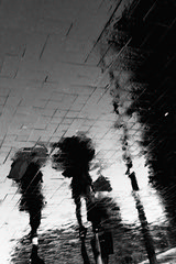 ... (andy961688) Tags: blackandwhitephotography blackandwhite black white bw iphoneography iphone4 iphone mobilephotography outofthephone camera phone cameraphone pointandshoot puddlegram puddle rain reflection silhouette classic streetphotography umbrella urban awesome abstract art cool grainy gloomy groovy girl flip moody