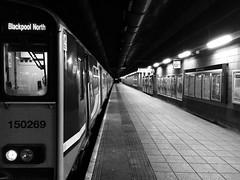 150269 Blackpool North (Rhisiart Hincks) Tags: manchester manceinion manchain oidhche oiche noz nos nuit night gau noche gorsaf stáisiún geltoki tihenthouarn tigar gare estacion station stèisean porzhhouarn rheilffordd henthouarn hynshorn trenbide iarnród burdinbide chemindefer railway rathadiarainn eisenbahn ferrocarril ferrovia geležinkelis 铁路 鉄道 caleferată duagwyn gwennhadu dubhagusgeal dubhagusbán blancinegre blackandwhite bw zuribeltz blancetnoir blackwhite monochrome unlliw blancoynegro zwartwit sortoghvid μαύροκαιάσπρο feketeésfehér juodairbalta trên train tren trena blackpool