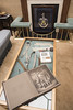 table display with old photos and belts (Amanda Lane 2020) Tags: tabledisplay oldphotos belts girdles girdler'shall london