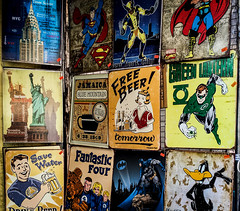Comic Kitsch To Go (Katrina Wright) Tags: iphone6 newyork usa comic character anime toys superheroes comicbook marvel scarves souvenir img06602 vintage kitsch signs posters pictures wallhanging