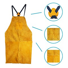 Leather Welding Apron, Fire Resistant Welder Smock, 24 x 42 Inch, Giant, 2 Pockets, X Strap, Kevlar Stitching, Accessory For Blacksmithing, Carpentry, Torch Work, Roofing, Woodworking - DiZiWoods Store (diziwoods) Tags: accessory apron blacksmithing carpentry diziwoods fire inch kevlar large leather pockets resistant roofing smock stitching store strap torch welder welding woodworking work