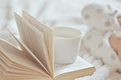 White is like silence among all colours - White Sunday  (a fun with colours ) (Eggii) Tags: home white book milk bed reading cup silence