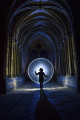 Portal.. (neil rushby photography) Tags: light lightpainting silhouette straightoutofcamera sooc lincoln cathedral long exposure lgexposure afterdark nocturnal magic magical ethereal spell portal harrypotter harry potter hogwarts arches stone pillars creative doorway gateway nikon godox flash gel blue orange green led stick pixel pixelstick