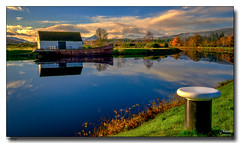 The Barge (jeremy willcocks) Tags: scotland uk colour landscape morningsun canal caledonian house reflection trees winter clouds sky water barge boat jeremywillcocks wwwsouthwestscenesmeuk fujixpro2 xf1024mm