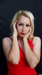 Red (KurenaiSutcliff) Tags: model girl blonde blondegirl lady pinup pin up sexy makeup red reddress dress elegant photoset photoshoot
