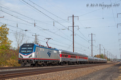AMTK 43 @ Tullytown, PA (Darryl Rule's Photography) Tags: 2017 43 amtrak buckscounty catenary fall ge levittown me morristownerie necorridor northeastcorridor november pa pc pv penncentral pennsy pennsylvania pennsylvanian privatecar privatevarnish railroad railroads sun sunny train trains tullytown westbound
