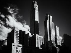 Skyscrapers (Feldore) Tags: newyork skyscrapers manhattan downtown vintage skyline narrow tall architecture feldore mchugh em1 olympus 1240mm retro