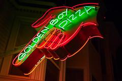 Golden Boy Neon (Chris Saulit) Tags: goldenboy pizza sf sanfrancisco northbeach city night neon sign food finger hand pointer