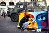Eyes (Roberto Spagnoli) Tags: barrier spray art artist fotografiadistrada streetphotography color eye military army esercito look 50mmcanon 50mm fotogiornalismo photojournalism actuality verona italy streetartist people