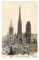 Rouen Cathedral and the Execution of Jeanne d'Arc (pepandtim) Tags: postcard old early nostalgia nostalgic rouen cathedral cathédrale execution jeanne darc joan arc nd lantern tower flèche seine france english channel 02091917 1917 chatty armageddon raging wilful destruction calvinists damaged furniture tombs stained glass statuary chapel fences guns melted 1944 pillar medieval rose windows stonework calcified bells 1999 turret executed vieux marché market 30051431 1431 23rca99 ashes rooftops butter