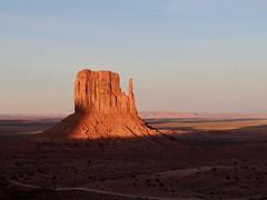 Shadow falls on West Mitten Butte in Monument Valley, AZ (Craigs Travels) Tags: butte monumentvalley az arizona redrocks sunset westmittenbutte mesarimtrail