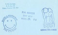 Shy Boy - Union, Ontario (73sand88s by Cardboard America) Tags: qsl qslcard cbradio cb vintage ontario rubberstamp