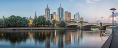 Melbourne, Australia (Anthony Kernich Photo) Tags: melbourne victoria australia city cityscape sunset goldenhour evening twilight panorama pano panoramic olympusem10 olympus olympusomd dusk photo microfourthirds yarra water reflection building skyscraper downtown yarrariver