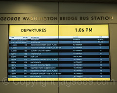 Bus Departures Board, George Washington Bridge Bus Station, Washington Heights, New York City (jag9889) Tags: jag9889 usa signboard manhattan newyork newjerseytransit uppermanhattan georgewashingtonbridgebusstation 20171115 2017 text newyorkcity electronic display departures sign washingtonheights panynj indoor 1963 bus busterminal gwbbusstation gwbmarket gwbbs njtransit njt ny nyc pierluiginervi portauthority portauthorityofnewyorkandnewjersey terminal transportation unitedstates unitedstatesofamerica wahi us