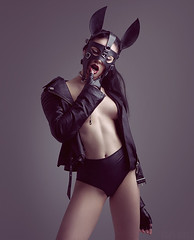 Tanja (hartworxphotography) Tags: girl leather nude sexy fetish bunny easter