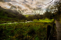 Sun meadow (GarethBell) Tags: green meadow wales anglesey llangefni dingle clouds water pathriver stream fence field sun sunpatch canon canon6d 35mm hdr lightroom bridge