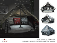NEW! Lucid Pillow Fort @ District 20 (Bhad Craven 'Bad Unicorn') Tags: pillows hiding winter fairy lights lighting light pillow sheets lamp hide away bhad • craven second 2l life lindens profile picture photography bad unicorn badunicorn clothing buc bu secondlife graphics gfx graphic design photos pics photo sl urban mesh exclusive store blog fashion shadows high quality production portrait image hd definition original meshes meshed 3d game characters art gaming concept concepts new top work progress wip