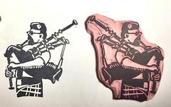Piper - Mini Print (lwdphoto) Tags: lance duffin lanceduffin bagpipes piper scottish miniprint blockprint print printmaking ink art linocut stamp